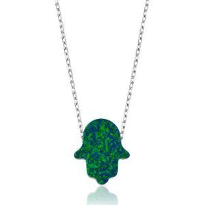 Gümüş Yeşil Opal Fatma Ana Eli Bayan Kolye