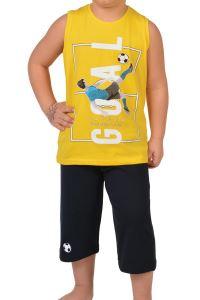 Tom John Erkek Çocuk Kapri Bermuda Pijama Takımı Geniş Askılı Pamuk