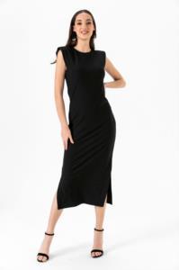 Saygı Omuzları Vatkalı Yırtmalı Siyah Elbise