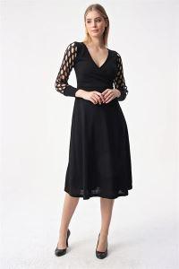 Kruvaze Kolu Simli Dekolteli Likra Elbise Siyah