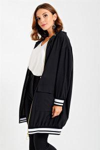 Kolu Eteği Şeritli Ribanalı Fermuarlı Ceket Siyah