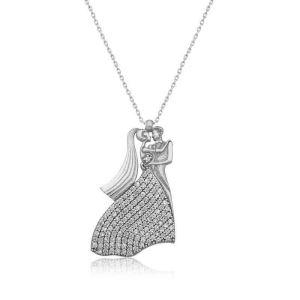 Gümüş Gelin Damat Bayan Kolye