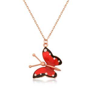 Gümüş Kırmızı Kelebek Kolye