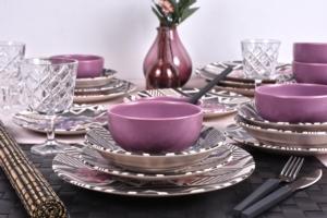 Keramika Leylak Yemek Takımı 24 Parça 6 Kişilik - 18231