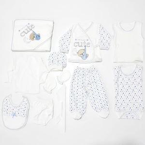 Cute Ayıcık Mavi 11 Parça Hastane Çıkış Seti
