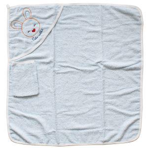 Tavşan Nakışlı Beyaz Biyeli Mavi Havlu Lif Set