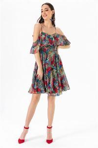 İp Askılı Yapraklı Şifon  Elbise Fuşya
