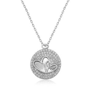 Gümüş Zirkon Taşlı İki Kalp Bayan Kolye