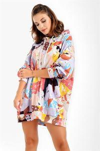 Kız Figürlü Kapüşonlu Oversize Sweat Elbise Lila