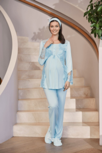 Mecit Mavi Lohusa Pijama Takımı 5015