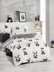 Eponj Home Junior Nevresim Seti Tek Kişilik Panda Siyah