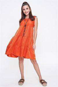 Fırfırlı Taşlanmış Pamuk Saten Kolsuz Elbise Oranj
