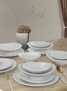 Keramika 24 Parça 6 Kişilik Oval Mat Beyaz Yemek Takımı