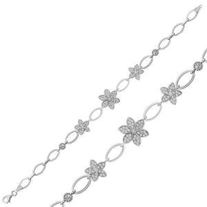 Gümüş Çiçekli Bayan Bileklik