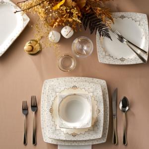Karaca Mühür Cream 60 Parça 12 Kişilik Yemek Takımı Gold Kare
