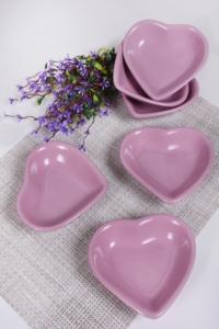 Keramika 6 Adet 14 Cm Violet Kalp Çerezlik
