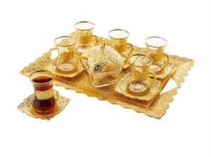 Sena Beyzade 6'lı Çay Seti (Tepsili+Şekerlikli) 160-A-K 18