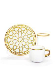 Damla Asena Çay Kahve Seti 6+6 Yıldız Altın