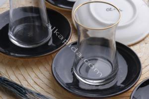 Özlife 12 Parça Damla Siyah Porselen Çay Seti- 928