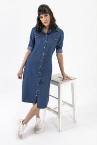 Saygı Çıtçıtlı Kot Elbise
