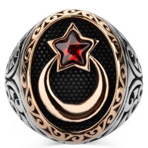 Gümüş Ay Yıldız Erkek Yüzük