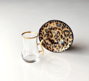 Gürcü Glass 12 Parça Leopar Desen Kulplu Çay Seti