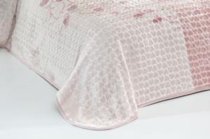 Evlen Home Roses Çift Kişilik Pudra Battaniye 220X240 cm (B09)