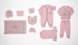 Little Gift Dantelli İncili Prenses Pembe 10 Parça Hastene Çıkış Seti- 503-3