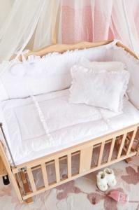 Aybi Baby Dantelli Beyaz Anne Yanı Beşik Tekstili 4303
