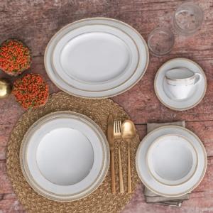Güral Porselen 84 Parça Yuvarlak Tolstoy Bantlı Yemek Takımı AU 1268