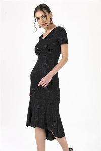 Önü Kısa Arkası Uzun Simli Pullu Elbise Siyah