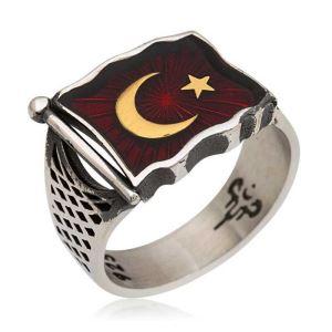 Gümüş Türk Bayrağı Erkek Yüzük