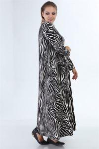 Zebra Desen Zımparalı Süet Büyük Beden Uzun Elbise Siyah