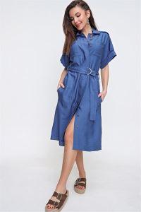 Safari Model Cepli Kuşaklı Keten Elbise İNDİGO