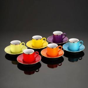 Kütahya Porselen 12 Parça Rüya Renkli Kahve Takımı