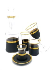 Özcam Kristal 31 Parça Siyah Gold Detaylı Çeyiz Takımı- D-1614