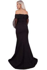 SpringStore Siyah Balon Kol Krep Kumaş Abiye Elbise