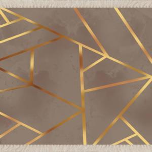 Meg Cloud Gold Çizgili Geometrik Dijital Baskı Yıkanabilir Salon Halı (Vizon) MEG123V
