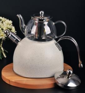 Bayev Granit Düdüklü Cam Çaydanlık- 200601- Krem