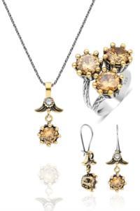 Midyat Sitrin Taşlı Çiçek Modelli Otantik Gümüş 3