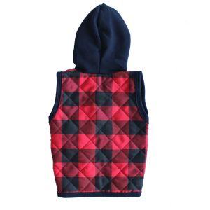 Ekoseli Kırmızı Laci Kapşonlu Erkek Bebek Yelek