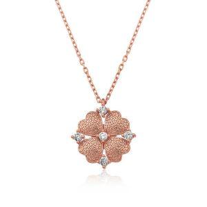 Gümüş Kalp Yapraklı Çiçek Kolye