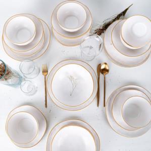 Keramika 24 Parça 6 Kişilik Organik Mat Beyaz Yemek Takımı