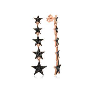 Gümüş Siyah Kayan Yıldızlar Küpe