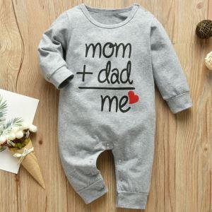 Gri Mom Dad Me Nakışlı Bebek Tulum