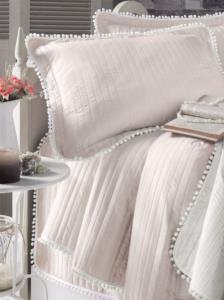 Evim Home Çift Kişilik Ponponlu Yatak Örtüsü Set Krem
