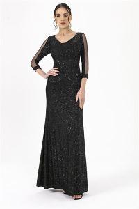 Simli Uzun Elbise Siyah