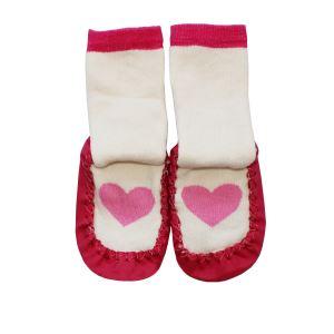 Pembe Kalpli Fuşya Çarıklı Kız Bebek Çorap