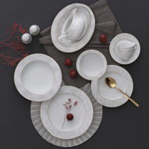 Güral Porselen 84 Parça Yuvarlak Tolstoy Yemek Takımı Bantlı 5713 AU