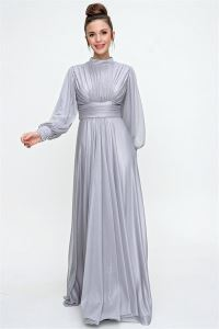 Önü Büzgülü Simli Uzun Abiye Elbise Gri